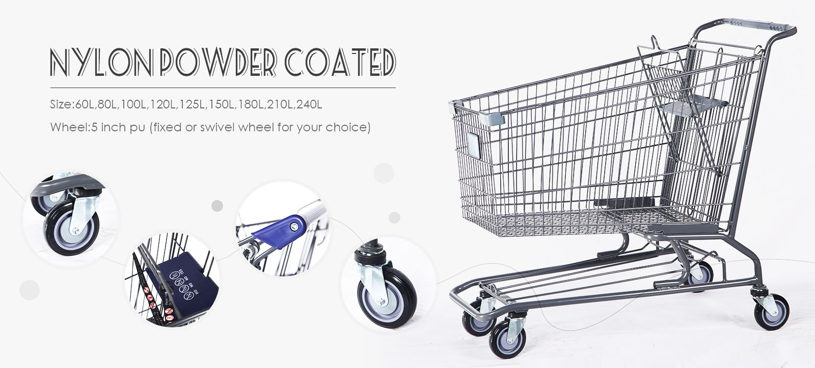 nylon powdered supermarket shopping trolley